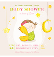 Baby Girl Sleeping with a Pillow - Baby Shower vector image vector image