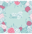 Wedding card with beautiful rose flowers on blue vector image