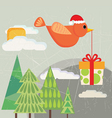bird carrying gift box vector image vector image