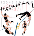 pole vault athletes set vector image vector image
