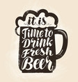 craft beer mug with foam lettering vintage vector image