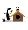 Dog paints a house vector image