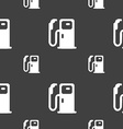 Fuel icon sign Seamless pattern on a gray vector image