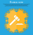 judge hammer icon Floral flat design on a blue vector image