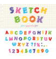 sketchbook colorful font design abc scribble vector image
