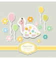 Vintage doodle baby tortoise vector image vector image