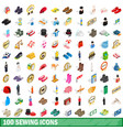 100 sewing icons set isometric 3d style vector image