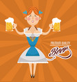woman cartoon oktoberfest design vector image