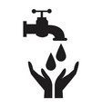 black silhouette house faucet with drop and hands vector image