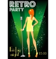 Retro party invitation design with sample text vector image
