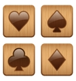Casino wooden square icon card suits vector image