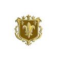 Fleur de lis Coat of Arms Gold Crest Retro vector image