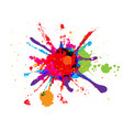abstract splatter red orange green blue pink vector image