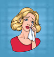 crying woman face sad blonde wiping tears with vector image