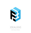 F and 3 initial logo F and 3 initial monogram vector image