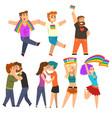 lgbt community celebrating gay pride love parade vector image