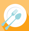 Plate spoon and fork icon vector image