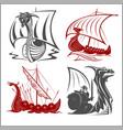 vikings ships - set on white background vector image