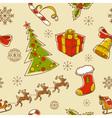 Seamless Christmas hand drawn pattern vector image