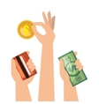 set hands money cash credit isolated vector image