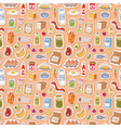 everyday food icons patchwork seamless vector image