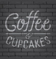 hand drawn lettering slogan on brick wall vector image vector image