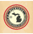 Vintage label-sticker cards of Michigan vector image