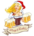 Pretty girl with beer Christmas label vector image