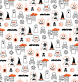 halloween pumpkins and owls vector image