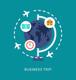 Business Concept Business Trip in Flat Design vector image vector image