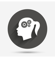 Head with gears sign icon Female woman head vector image