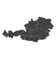 austria map with regions vector image