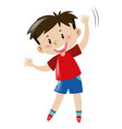 boy with happy face standing vector image