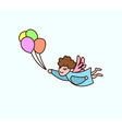flying cartoon angel with balloons in hand vector image