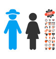 gentleman and lady icon with valentine bonus vector image