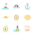 Sailor icons set cartoon style vector image