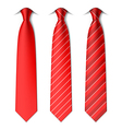 Red plain and striped ties vector image vector image