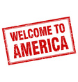 America red square grunge welcome isolated stamp vector image