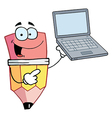Pencil Cartoon Character Presents Laptop vector image