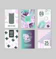 abstract tropical poster templates set with palm vector image