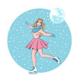 beautiful girl with long hair skates in winter on vector image