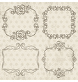 Calligraphy decorative borders with roses vector image