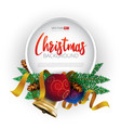 christmas round frame design vector image