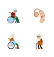 flat icon disabled set of wheelchair audiology vector image