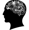head with gear brain vector image