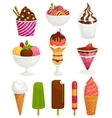 Ice-cream set different types cartoon vector image