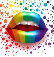 rainbow lips vector image