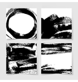 set of four black ink brushes grunge square vector image vector image