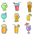 doodle of drink style various collection vector image