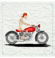 Skeleton riding vintage Motorcycle vector image